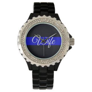 Ladies Wife Thin Blue Line Rhinestone Watch