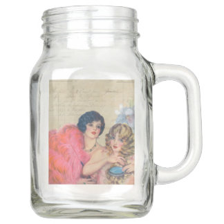 Ladies with Feather Fan French Collection Mason Jar