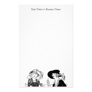 Ladies with Hats Retro 1920's Vintage Apparel Customized Stationery
