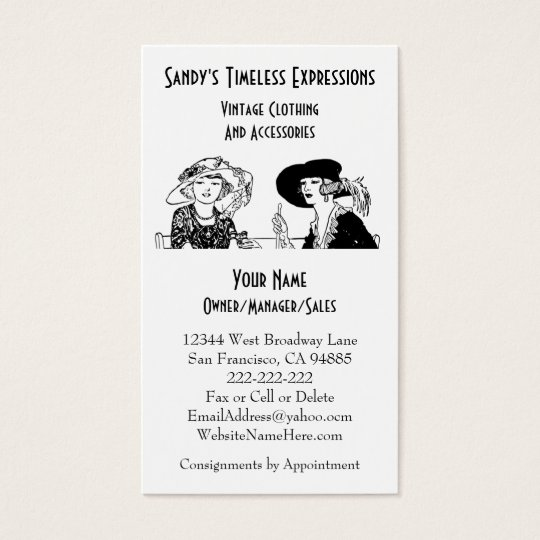 Ladies with Hats Vintage Fashion Custom Clothing Business Card