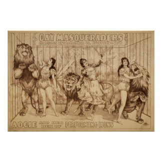 Ladies with Performing LIONS Act VAUDEVILLE Poster