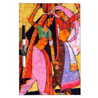 LADIES WITH WATER POTS INDIAN BATIK PAINTING Dry-Erase BOARD
