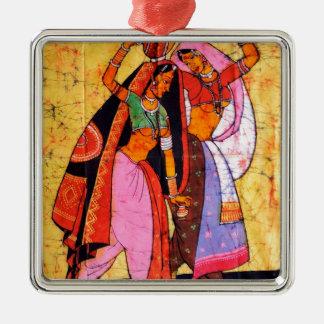 LADIES WITH WATER POTS INDIAN BATIK PAINTING METAL ORNAMENT