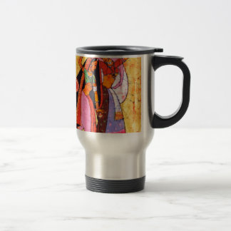 LADIES WITH WATER POTS INDIAN BATIK PAINTING TRAVEL MUG