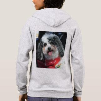 Ladies zip Hoodie, Cute Dog Photo K-Cee Hoodie