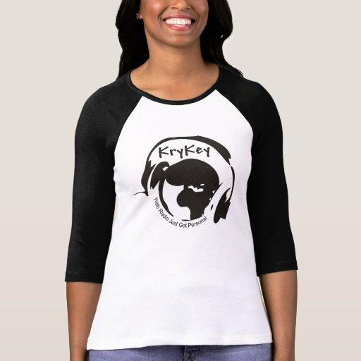 LadiesT-Camisa negra/blanca del logotipo de KryKey T-shirt