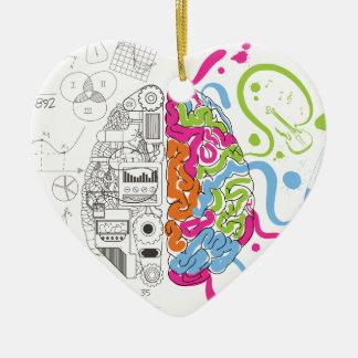 Lado creativo del amo de la mente del cerebro de adorno navideño de cerámica en forma de corazón