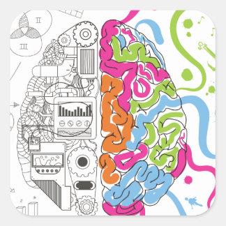 Lado creativo del amo de la mente del cerebro de pegatina cuadrada