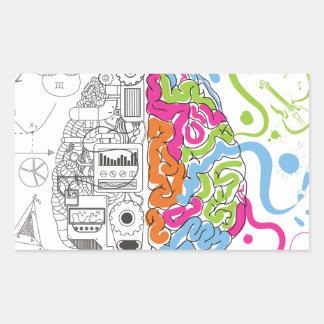 Lado creativo del amo de la mente del cerebro de pegatina rectangular