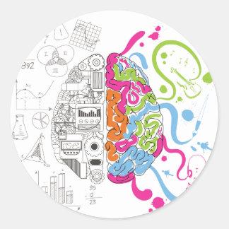 Lado creativo del amo de la mente del cerebro de pegatina redonda
