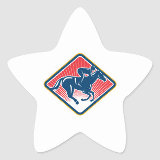 Lado de la carrera de caballos del jinete retro pegatinas forma de estrellaes