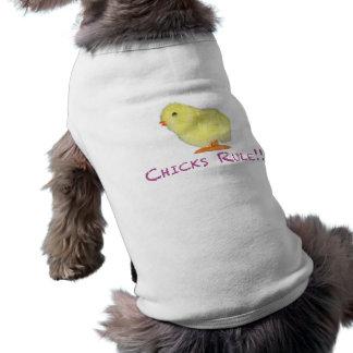 Lado de la regla de los polluelos transparente playera sin mangas para perro