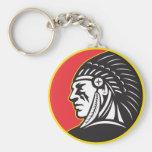 Lado del jefe indio del nativo americano llavero
