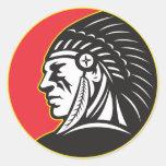 Lado del jefe indio del nativo americano pegatinas redondas