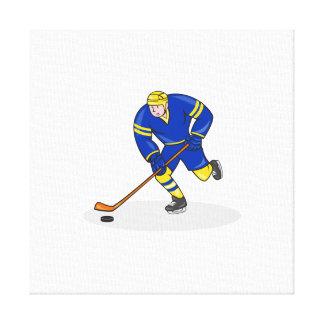 Lado del jugador del hockey sobre hielo con el dib