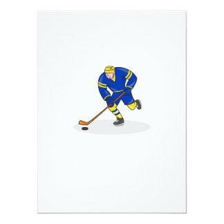 Lado del jugador del hockey sobre hielo con el invitaciones personalizada