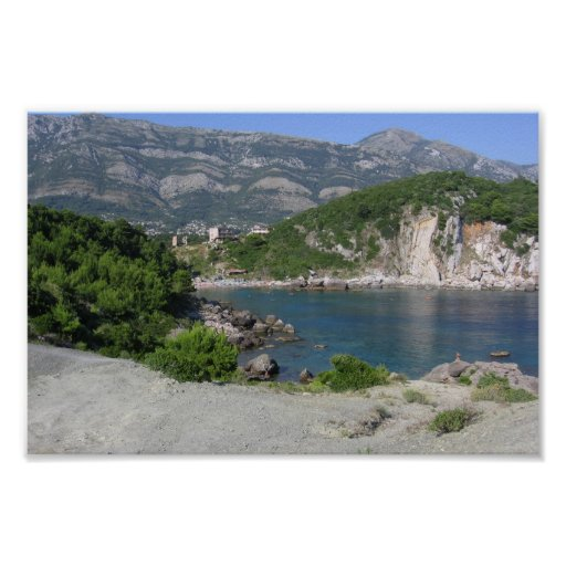 Lado del lago de Montenegro en Sutomore Póster