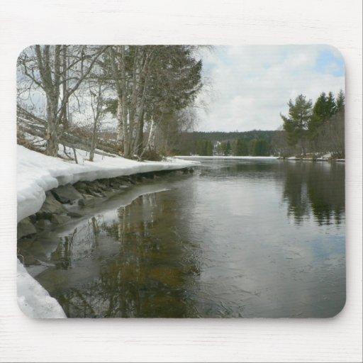 Lado del lago en invierno alfombrilla de ratón
