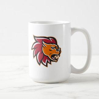 Lado enojado de la cabeza del gato grande del león tazas de café