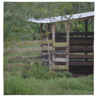 lado izquierdo de la parada de madera del granero servilletas de papel