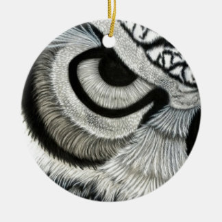 lado izquierdo del ojo del búho adorno navideño redondo de cerámica