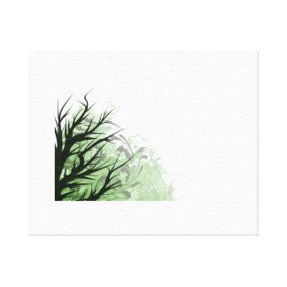 Lado izquierdo floral verde del árbol impresión de lienzo