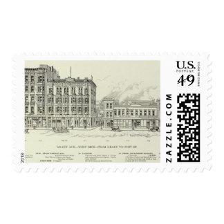 Lado oeste Geary de Grant y poste Sello Postal