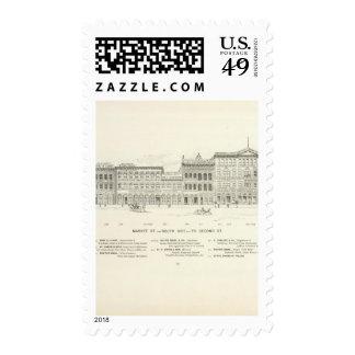 Lado sur 2do del mercado sello postal