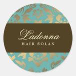 Ladonna Damask Brown Topaz Classic Round Sticker