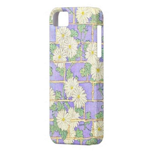 Ladrillo-Juego y margaritas de bambú del vintage e iPhone 5 Coberturas
