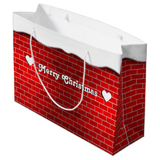 Ladrillo rojo con la deriva de la nieve - top bolsa de regalo grande