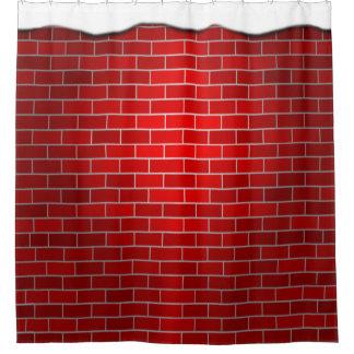 Ladrillo rojo con la deriva de la nieve - top cortina de baño