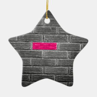 Ladrillo rosado en una pared negra y blanca adorno de cerámica en forma de estrella