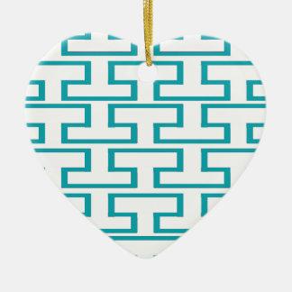 Ladrillos azules y blancos de la pizarra adorno navideño de cerámica en forma de corazón