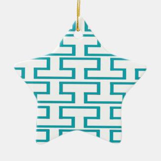 Ladrillos azules y blancos de la pizarra adorno navideño de cerámica en forma de estrella
