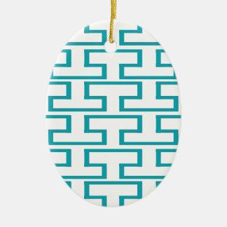 Ladrillos azules y blancos de la pizarra adorno navideño ovalado de cerámica
