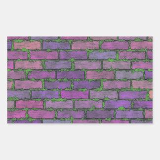 Ladrillos púrpuras rectangular pegatinas