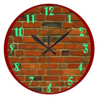 Ladrillos rojos reloj redondo grande