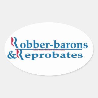 Ladrón-barones y Reprobates Romney Ryan Pegatina Ovalada