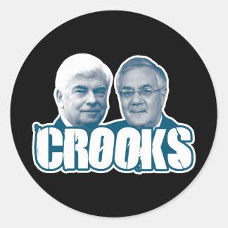LADRONES Chris Dodd y Barney Frank Pegatinas Redondas