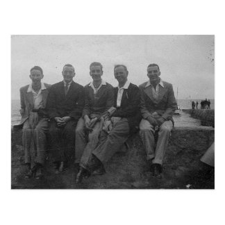 Lads Day Out Old Black & White Image Postcard