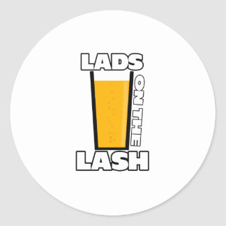 Lads on the lash classic round sticker