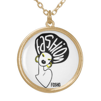 lady afro gold plated necklace