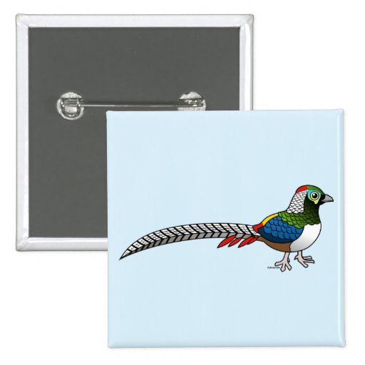 Lady Amherst's Pheasant 2 Inch Square Button