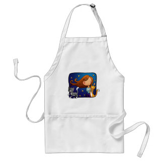 Lady and 2 cats apron