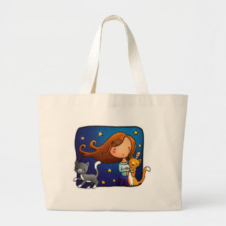 Lady and 2 cats canvas bags