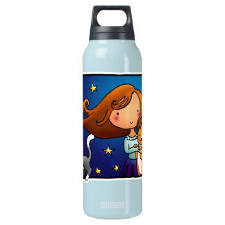 Lady and 2 cats insulated water bottle