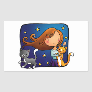 Lady and 2 cats rectangular sticker