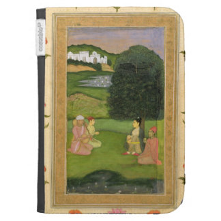 Lady and attendant listening to music at sunset, f cases for kindle