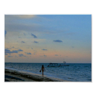Lady and Boat Beach Home Decor Poster